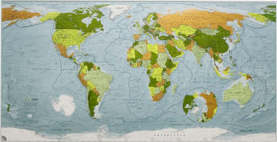 Colour Map: World Wall Map - Paper Tubed Version 1: Political with Physical Shading - Colourmaps S. (Sheet map, folded)