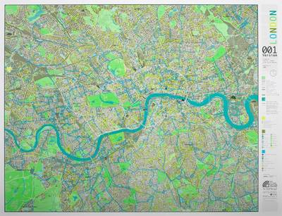 London Wall Map with Cycle Routes: Aqua/champagne/apple Version 1 (Sheet map)
