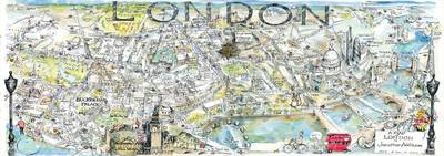 Hand-drawn Map of London: London Panorama (Sheet map, rolled)