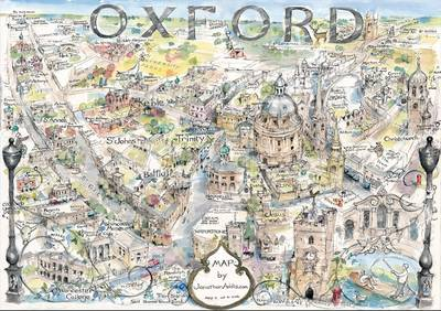 Map of Oxford: Hand-drawn in Ink and Watercolour - Jonathan Addis Maps (Sheet map, rolled)