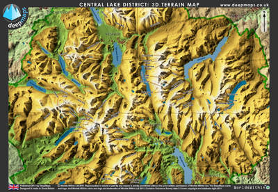 Deepmaps Central Lake District 3D Terrain Map (Sheet map, flat)