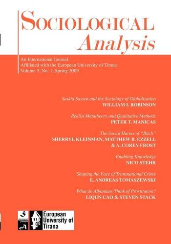 Sociological Analysis: 2009 (Issue 1) (Paperback)