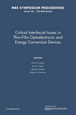 Critical Interfacial Issues in Thin-Film Optoelectronic and Energy Conversion Devices: Volume 796 - MRS Proceedings (Paperback)