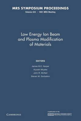 Low Energy Ion Beam and Plasma Modification of Materials: Volume 223 - MRS Proceedings (Paperback)