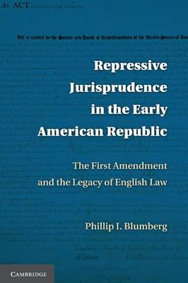 Repressive Jurisprudence in the Early American Republic: The First Amendment and the Legacy of English Law (Paperback)