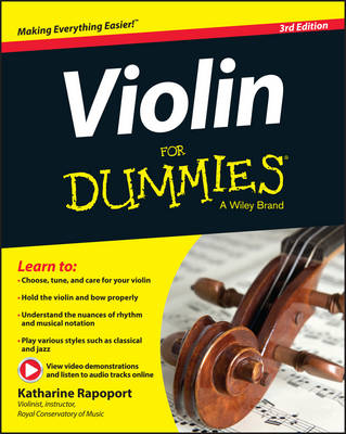 Violin for Dummies: Book + Online Video & Audio Instruction, 3rd Edition (Paperback)
