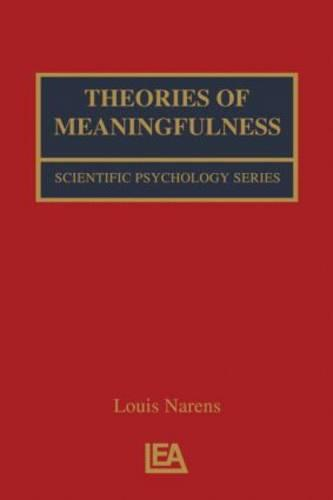 Theories of Meaningfulness - Scientific Psychology Series (Paperback)