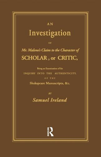 Investigation into Mr. Malone's Claim to Charter of Scholar: Volume 24 (Paperback)