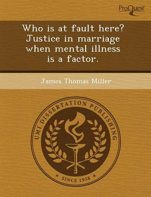 Who Is at Fault Here? Justice in Marriage When Mental Illness Is a Factor (Paperback)