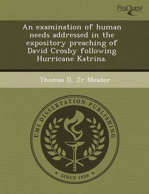An Examination of Human Needs Addressed in the Expository Preaching of David Crosby Following Hurricane Katrina (Paperback)