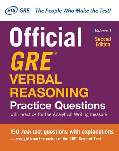 Official GRE Verbal Reasoning Practice Questions, Second Edition, Volume 1 (Hardback)