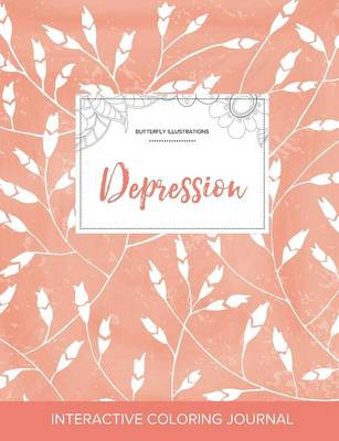 Adult Coloring Journal: Depression (Butterfly Illustrations, Peach Poppies) (Paperback)