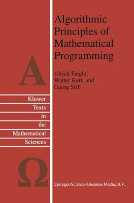 Algorithmic Principles of Mathematical Programming - Texts in the Mathematical Sciences 24 (Hardback)