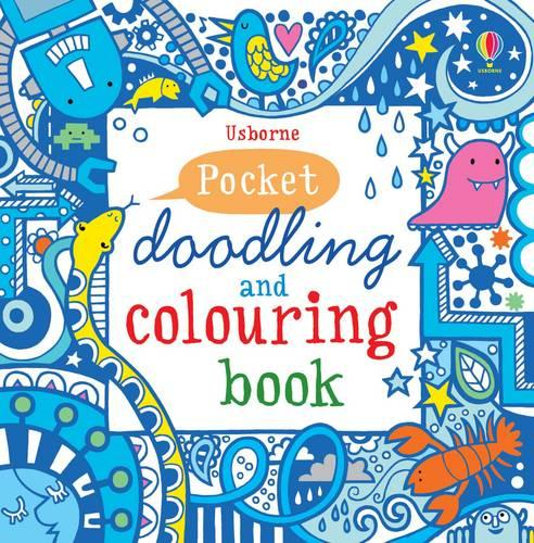 Blue Pocket Doodling & Colouring Book - Usborne Drawing, Doodling and Colouring (Paperback)