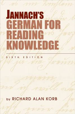 Jannach's German for Reading Knowledge (Paperback)