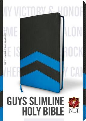 NLT Guys Slimline Bible Tutone Black/Blue Chevrons (Leather / fine binding)