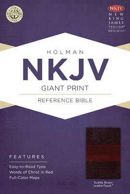 NKJV Giant Print Reference Bible, Black LeatherTouch, Indexed (Leather / fine binding)
