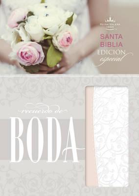 RVR 1960 Biblia Recuerdo de Boda, filigrana blanca/rosa palo simil piel (Leather / fine binding)
