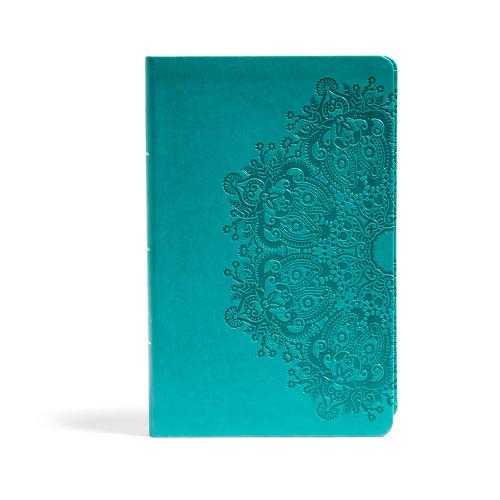CSB Large Print Personal Size Reference Bible, Teal LeatherTouch, Indexed (Leather / fine binding)