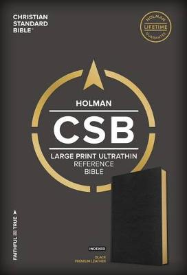 CSB Large Print Ultrathin Reference Bible, Black Premium Leather, Black Letter Edition, Indexed (Leather / fine binding)