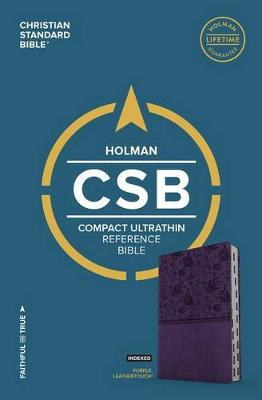 CSB Compact Ultrathin Bible, Purple LeatherTouch, Indexed (Leather / fine binding)