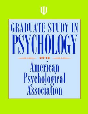 Graduate Study in Psychology 2013 (Paperback)