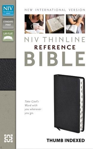 NIV Thinline Reference Bible Indexed, Black Bonded Leather - New International Version (Hardback)
