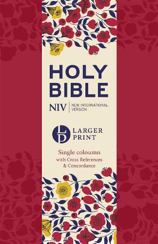 NIV Larger Print Compact Single Column Reference Bible: Red Soft-tone - Larger Print (Paperback)