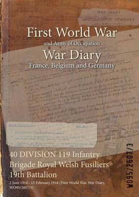 40 Division 119 Infantry Brigade Royal Welsh Fusiliers 19th Battalion: 2 June 1916 - 15 February 1918 (First World War, War Diary, Wo95/2607/3) (Paperback)