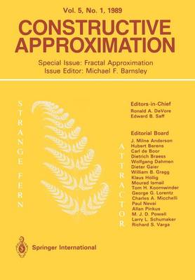 Constructive Approximation: Special Issue: Fractal Approximation - Constructive Approximation (Paperback)