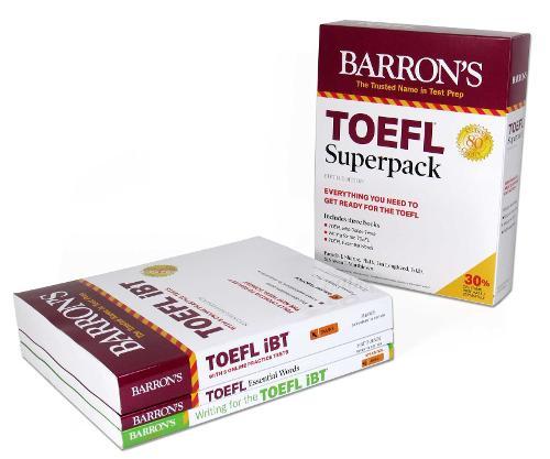 TOEFL Superpack: 3 Books + Practice Tests + Audio Online - Barron's Test Prep (Paperback)