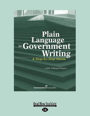 Plain Language in Government Writing: A Step-by-Step Guide (Paperback)