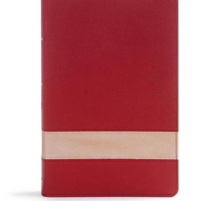 CSB Large Print Personal Size Reference Bible, Crimson/Tan LeatherTouch, Indexed (Leather / fine binding)