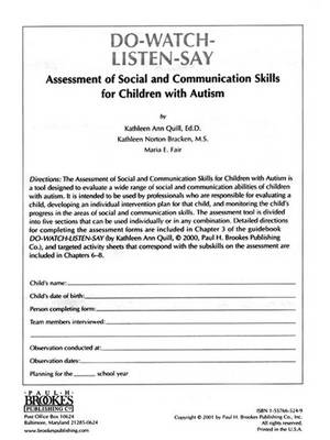 Assessment of Social & Communication Skills for Children with Autism (Book)
