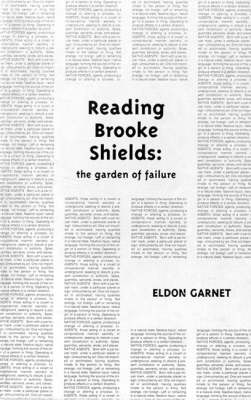 Reading Brooke Shields: the garden of failure - Semiotext(e) / Native Agents (Paperback)