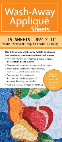 "Wash-Away Applique Sheets: 25 Sheets * 8 1/2"" x 11"" * Printable * Water Soluble * Single-Sided Fusible * ECO-Friendly"