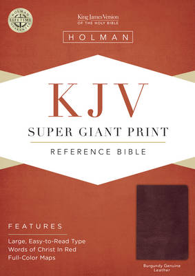 KJV Super Giant Print Reference Bible, Burgundy Leather (Leather / fine binding)