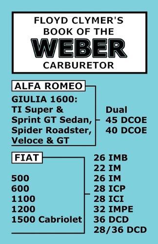 Floyd Clymer's Book of the Weber Carburetor (Paperback)