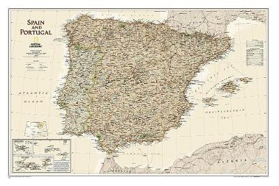 Spain & Portugal Executive, Laminated: Wall Maps Countries & Regions (Sheet map, rolled)