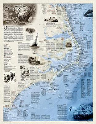 Shipwrecks Of The Outer Banks, Tubed: Wall Maps History & Nature (Sheet map, rolled)