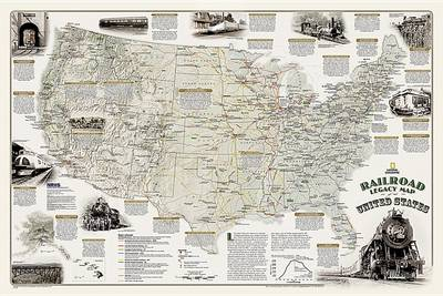 America's Scenic Railways - Boxed: Wall Maps History & Nature (Sheet map, rolled)
