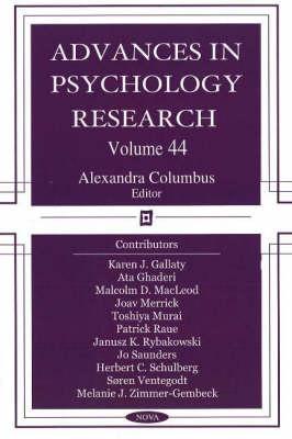 Advances in Psychology Research: Volume 44 (Hardback)