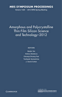 Amorphous and Polycrystalline Thin-Film Silicon Science and Technology 2012: Volume 1426 - MRS Proceedings (Hardback)