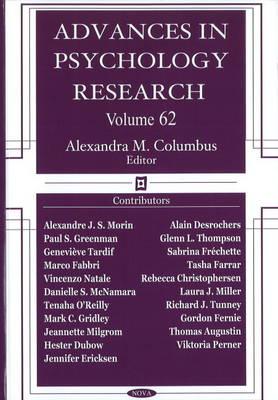 Advances in Psychology Research: Volume 62 (Hardback)