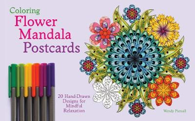 Coloring Flower Mandala Postcards: 20 Hand-Drawn Designs for Mindful Relaxation (Paperback)