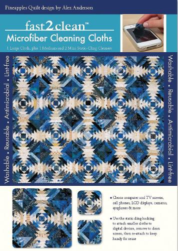 fast2clean (TM) Pineapple Quilt Microfiber Cleaning Cloths: 1 Large Cloth, Plus 1 Medium and 2 Mini