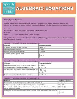 Algebraic Equations (Speedy Study Guides: Academic) (Paperback)