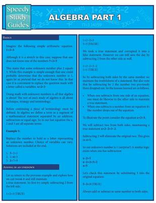 Algebra Part 1 (Speedy Study Guides: Academic) (Paperback)