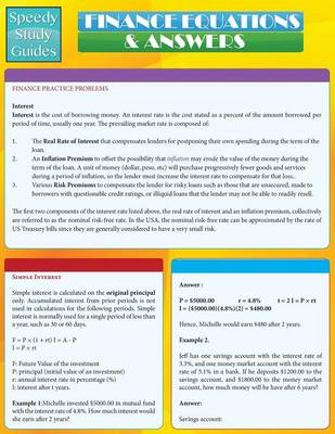 Finance Equations & Answers (Speedy Study Guides: Academic) (Paperback)