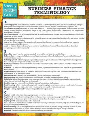 Business Finance Terminology (Speedy Study Guide) (Paperback)